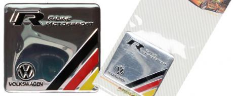 Kovová samolepka Volkswagen R-Line Motorosport 6x6cm