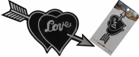 Kovová samolepka Srdce Love a šíp