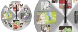 Hliníkové nástěnné hodiny s fotorámečky