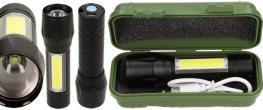 Vodotěsná a nárazuvzdorná nabíjecí LED baterka 2v1 se ZOOMEM