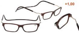 Dioptrické brýle s magnetem hnědé +1,00