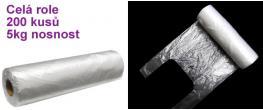 Mikrotenové tašky HDPE 5 kg čiré role (200 ks) extra pevná