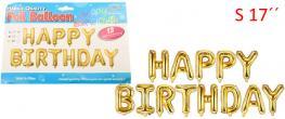 Balónky Happy Birthday S 17´´ Zlaté