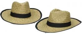 Slaměný kovbojský klobouk s černým páskem