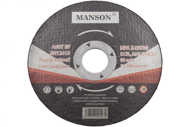 Foto 2 - Řezný kotouč Manson 115 x 1,2 x 22,2