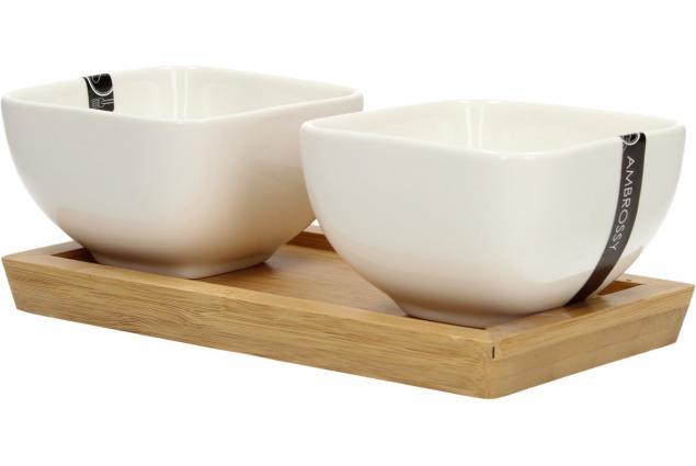Foto 3 - Miska porcelánová 2 ks a dřevěný tácek