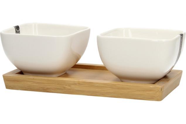 Foto 4 - Miska porcelánová 2 ks a dřevěný tácek