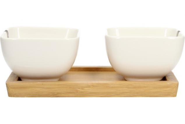 Foto 5 - Miska porcelánová 2 ks a dřevěný tácek