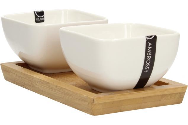 Foto 6 - Miska porcelánová 2 ks a dřevěný tácek