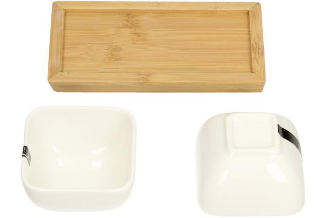 Foto 7 - Miska porcelánová 2 ks a dřevěný tácek