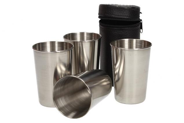 Foto 3 - Velké kovové nerez panáky na alkohol 8x6 cm 4 kusy v pouzdře