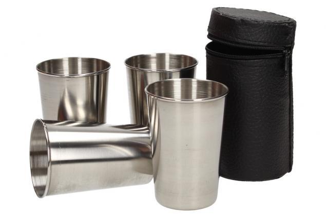 Foto 4 - Velké kovové nerez panáky na alkohol 8x6 cm 4 kusy v pouzdře
