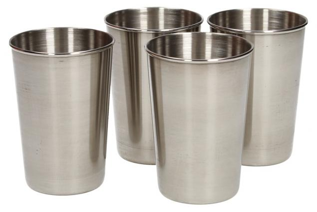 Foto 5 - Velké kovové nerez panáky na alkohol 8x6 cm 4 kusy v pouzdře