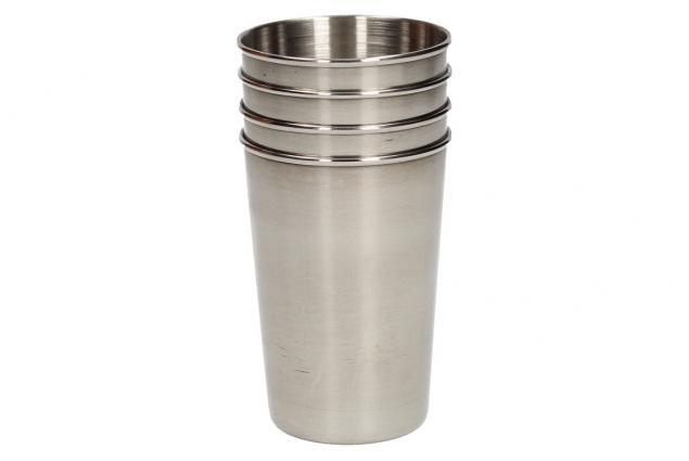 Foto 6 - Velké kovové nerez panáky na alkohol 8x6 cm 4 kusy v pouzdře