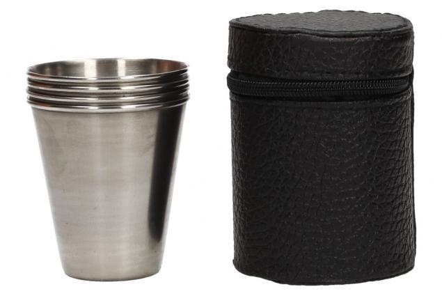 Foto 5 - Malé kovové nerez panáky na alkohol 6x5 cm 4 kusy