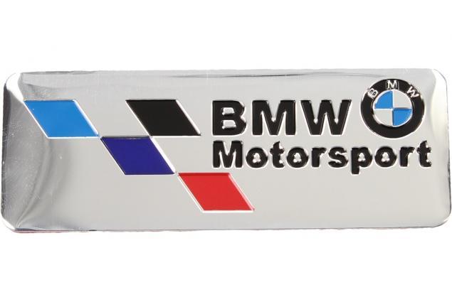 Foto 2 - Kovová samolepka BMW Motorsport stříbrná 8x3 cm