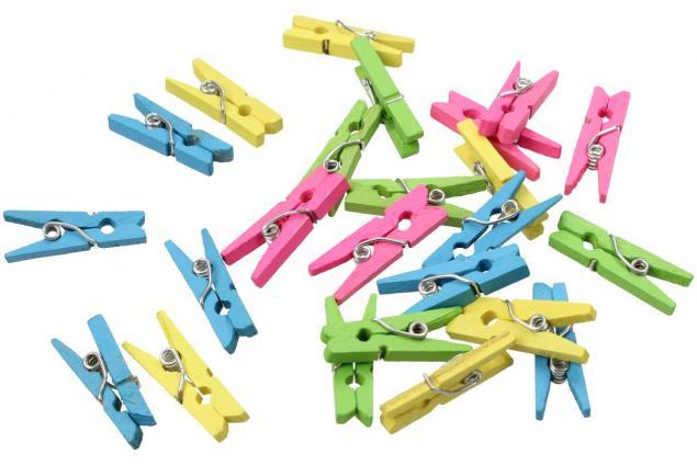 Foto 2 - Dřevěné barevné mini kolíčky sada 25 kusů