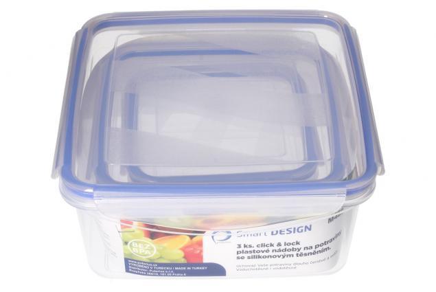 Foto 2 - Sada hranatých dóz na potraviny s gumovým těsněním 3 kusy