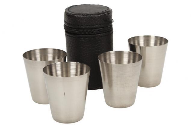 Foto 3 - Mini kovové nerez panáky na alkohol 4 x 3,5 cm 4 kusy