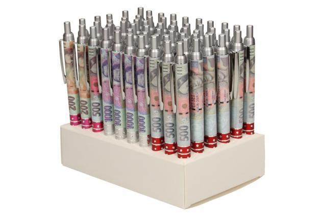 Foto 4 - Sada 60 kusů propisek s motivem bankovek.