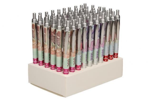 Foto 5 - Sada 60 kusů propisek s motivem bankovek.