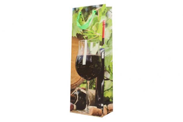 Foto 4 - Dárková taška na víno sklenička s červeným vínem 36x12 cm