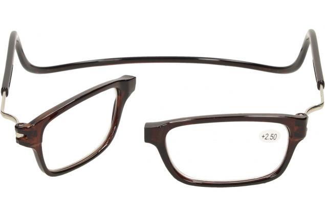 Foto 9 - Dioptrické brýle s magnetem hnědé +2,50