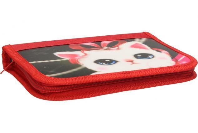 Foto 3 - Jednopatrový plně vybavený penál 3D Červený