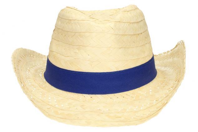 Foto 2 - Slaměný kovbojský klobouk s modrým páskem