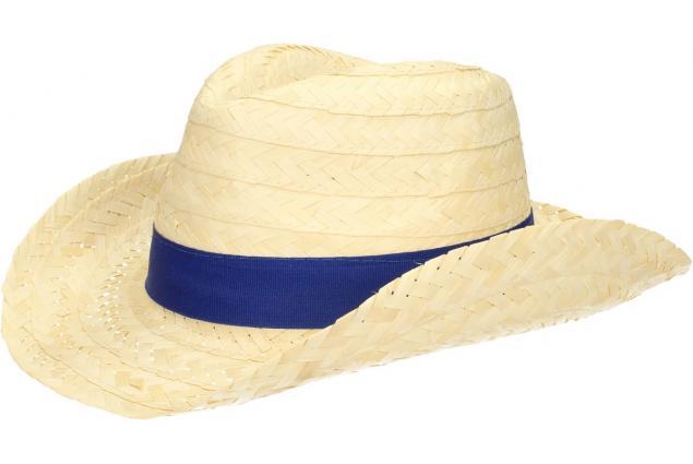 Foto 3 - Slaměný kovbojský klobouk s modrým páskem