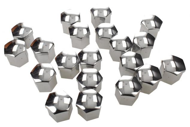 Foto 5 - Sada ozdobných krytů pro šrouby kol stříbrné 17 mm 20 ks