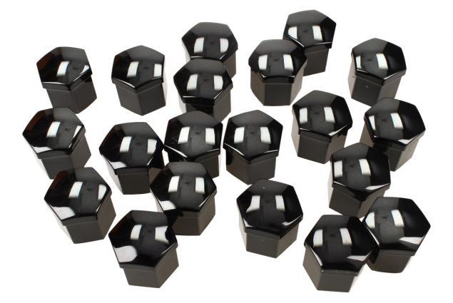Foto 4 - Sada ozdobných krytů pro šrouby kol černé 19 mm 20 ks