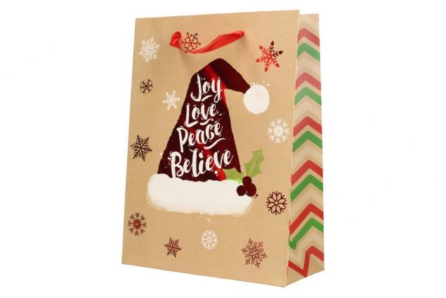 Foto 4 - Dárková vánoční taška s čepicí 24x18 cm