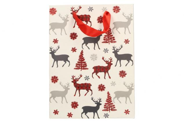 Foto 3 - Dárková vánoční taška bílá se soby 24x18 cm
