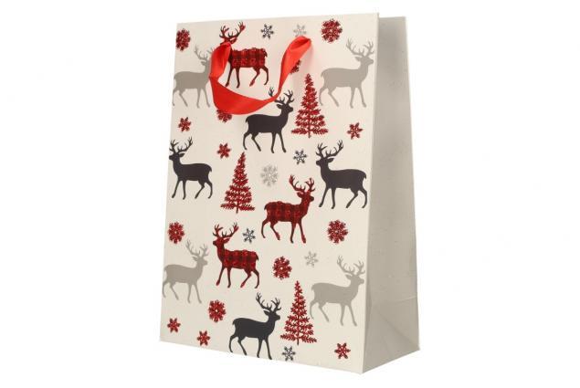 Foto 4 - Dárková vánoční taška bílá se soby 24x18 cm