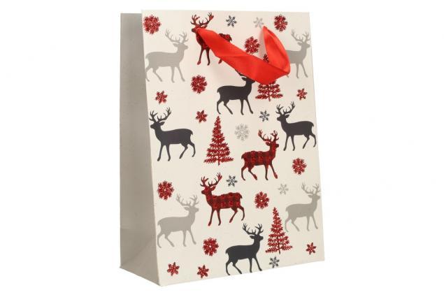 Foto 2 - Dárková vánoční taška bílá se soby 24x18 cm