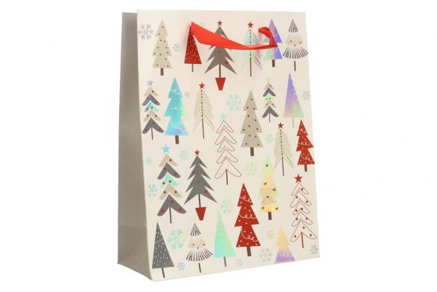Foto 2 - Dárková vánoční taška bílá se stromy 24x18 cm