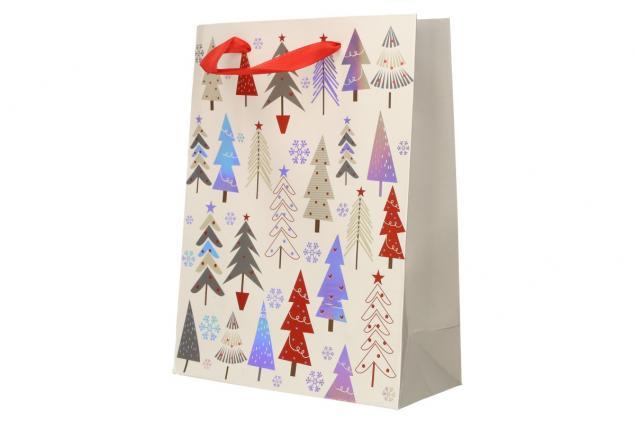 Foto 4 - Dárková vánoční taška bílá se stromy 24x18 cm