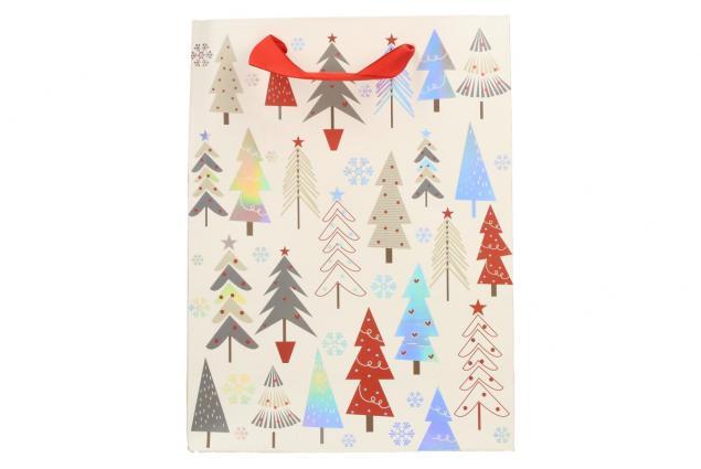 Foto 3 - Dárková vánoční taška bílá se stromy 24x18 cm