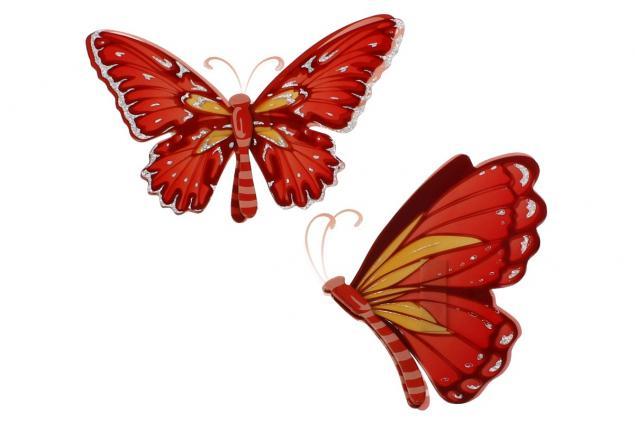 Foto 2 - 3D samolepky na zeď červení motýli 6ks