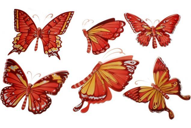 Foto 3 - 3D samolepky na zeď červení motýli 6ks
