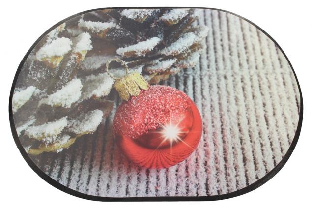 Foto 2 - Prostírání na stůl oválné 40x28 cm Červená ozdoba a šišky