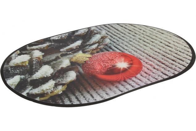 Foto 3 - Prostírání na stůl oválné 40x28 cm Červená ozdoba a šišky