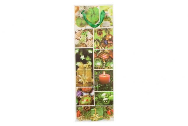 Foto 2 - Dárková vánoční taška na víno zelená 36x12 cm