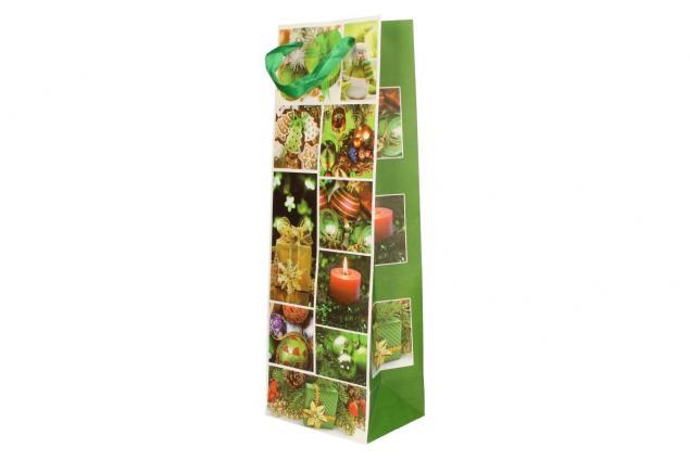 Foto 3 - Dárková vánoční taška na víno zelená 36x12 cm