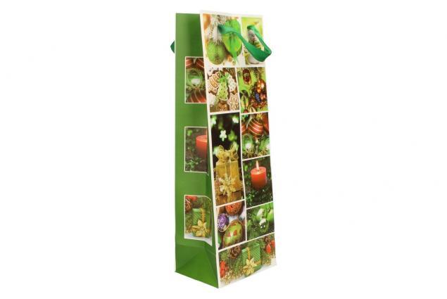 Foto 4 - Dárková vánoční taška na víno zelená 36x12 cm