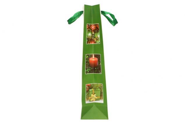 Foto 5 - Dárková vánoční taška na víno zelená 36x12 cm