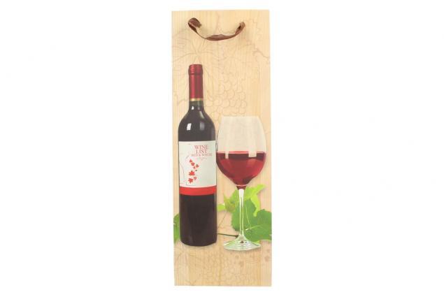 Foto 2 - Dárková taška na víno s dřevěným pozadím  36x12 cm