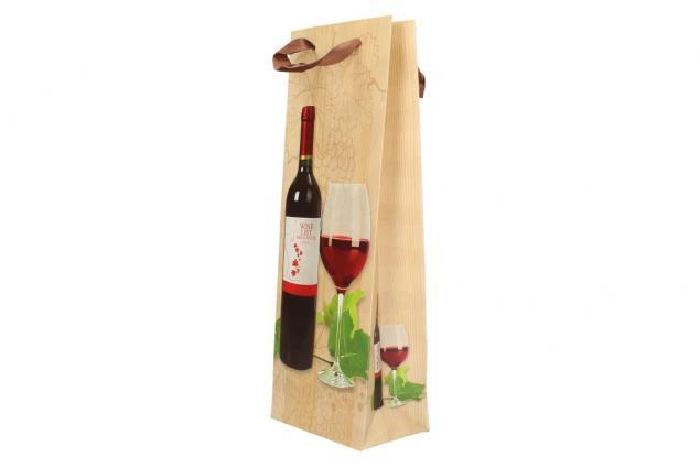 Foto 3 - Dárková taška na víno s dřevěným pozadím  36x12 cm