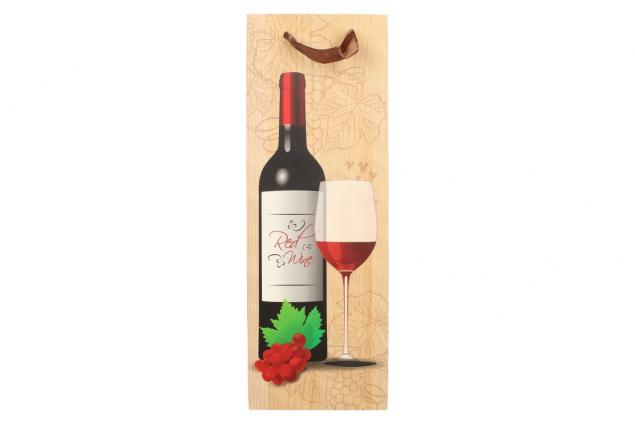 Foto 4 - Dárková taška na víno s dřevěným pozadím  36x12 cm